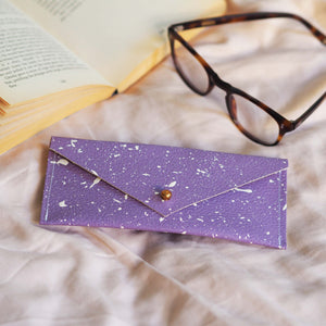 Lilac with White Splatters Leather Glasses Case