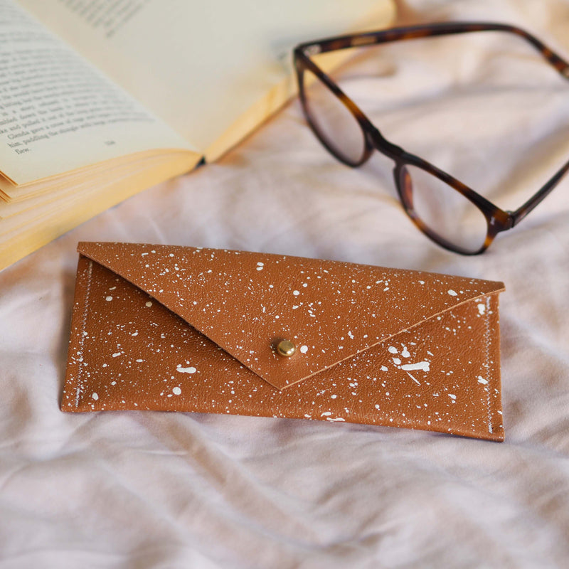Ochre with White Splatters Leather Glasses Case