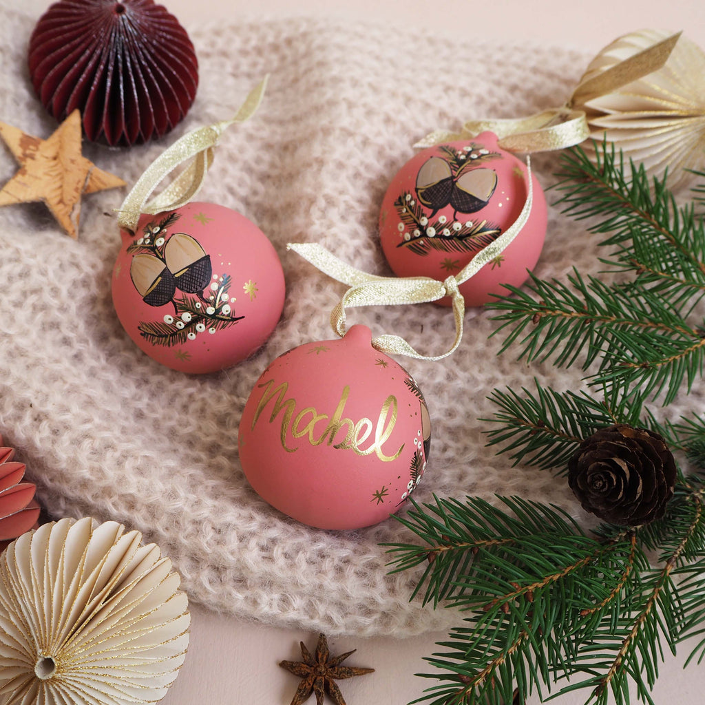 Personalised Festive Foliage Bauble - Pink