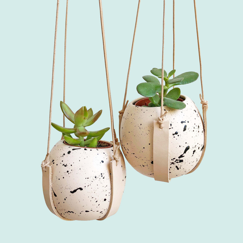 Blush Pink and Black Splatter pot with Leather Plant Hanger