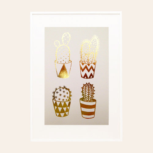 Gold Foil Cacti A4 Screen Print on Pink