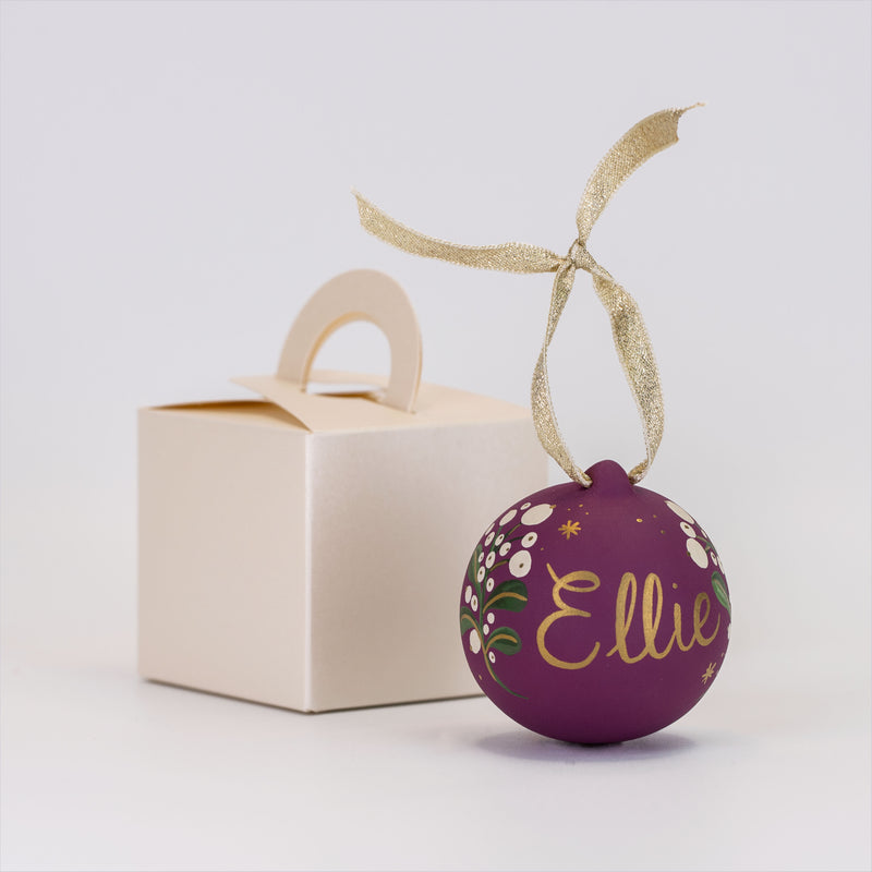 Personalised Festive Foliage Bauble - Plum