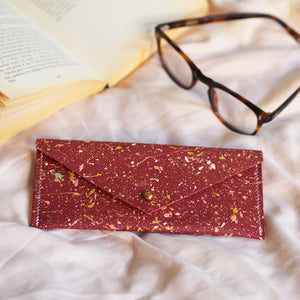 Rust Red with Colourful Splatters Leather Glasses Case