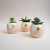 Gold Leaf Triangle Round Plant Pot
