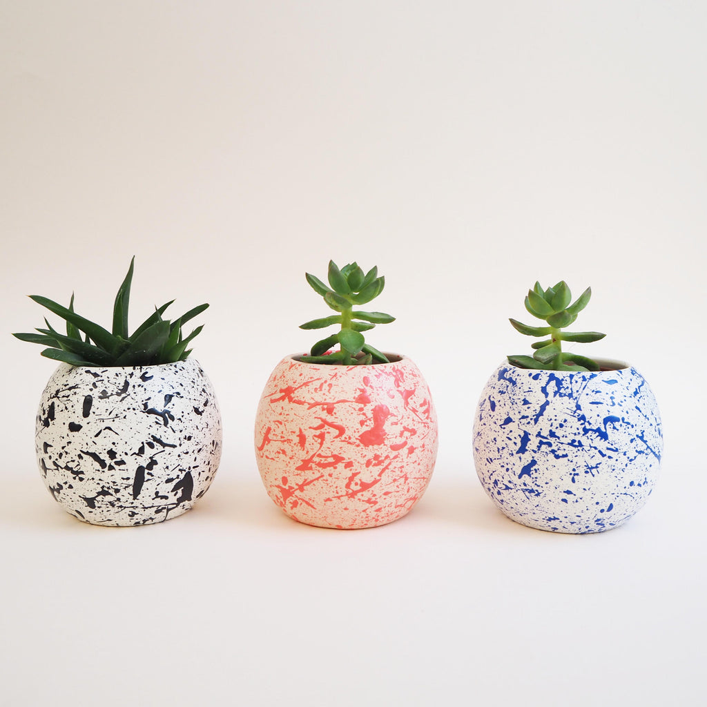 Round Splatter Plant Pot - Choose your colours