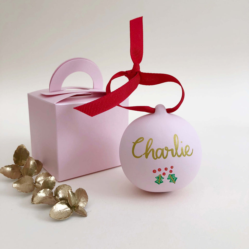 Snowman Hand Illustrated Personalised ceramic bauble