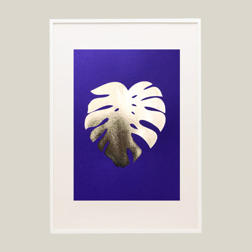 Gold Foil Cheese plant Leaf A4 Screen Print on Blue