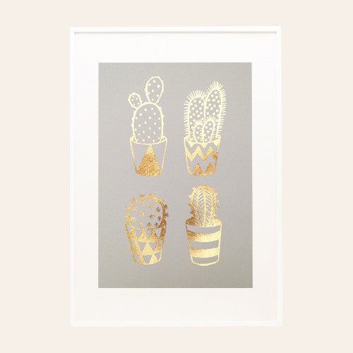 Gold Foil Cacti A4 Screen Print on Grey
