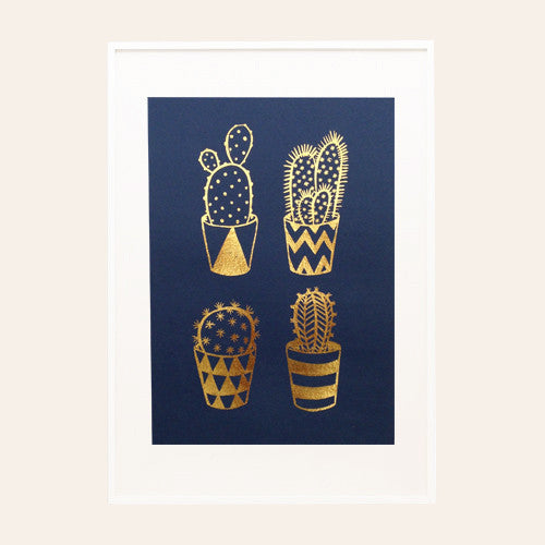 Gold Foil Cacti A4 Screen Print on Navy