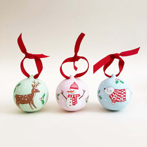 Reindeer Hand Illustrated Personalised ceramic bauble