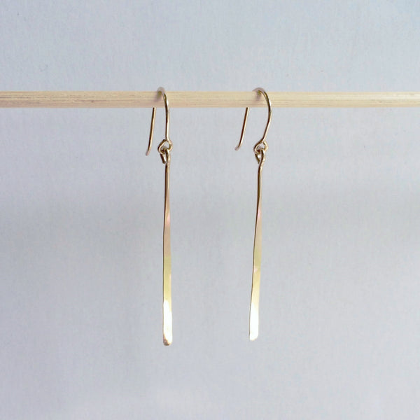 Long Gold Line Earrings - Squirrel's Nest Jewelry - 1