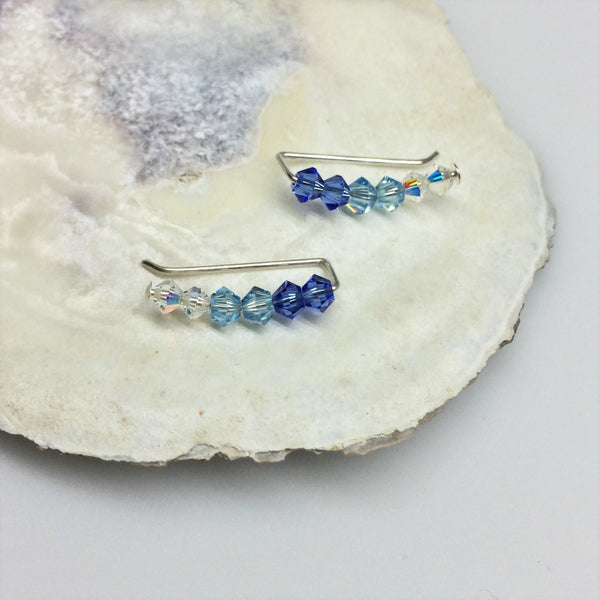 Swarovski Crystal Ear Climbers in Blue Ombre