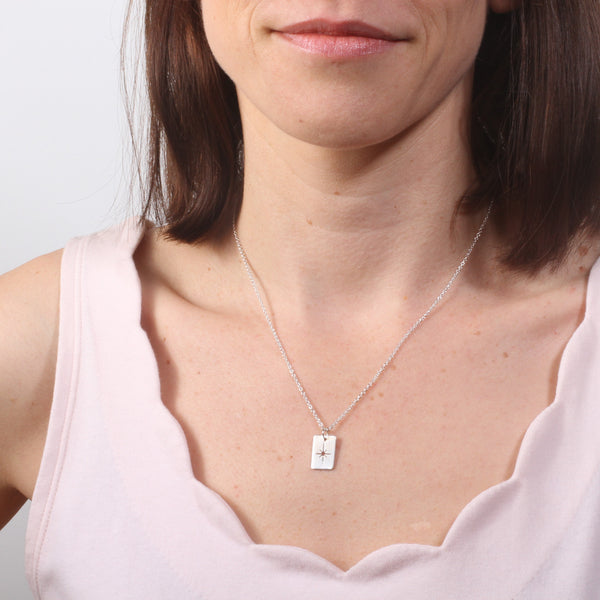 Hand Cut Twinkle Star Necklace - Rectangle