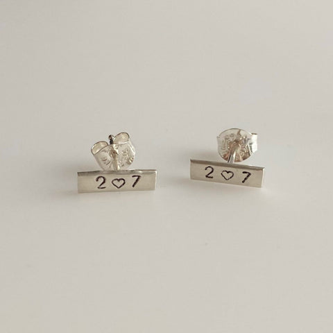 Small Maine Heart 207 Bar Stud Earrings