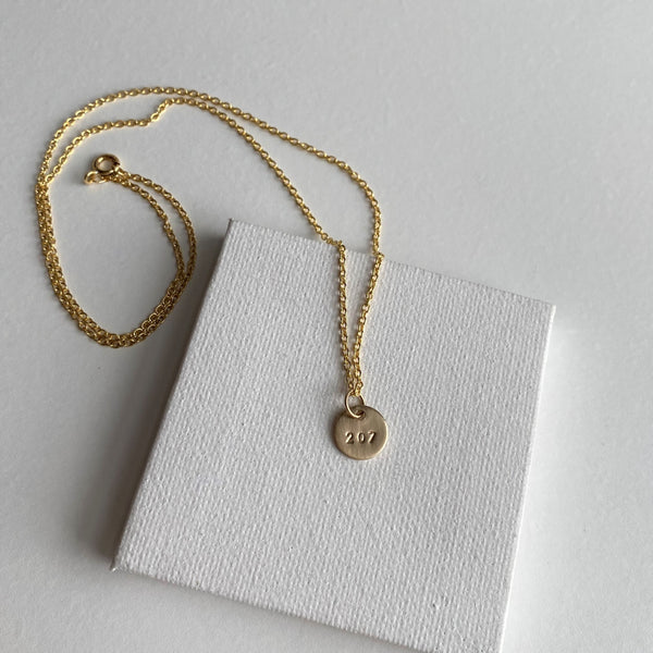 "Tiny 1/4"" Gold 207 Maine Necklace"
