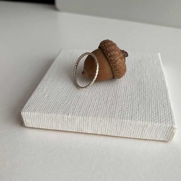 Super Skinny Hammered Twist Sterling Silver Ring