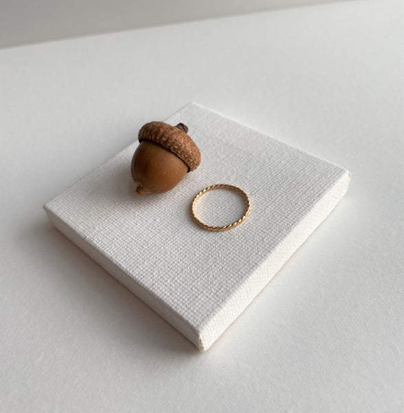 Super Skinny Hammered Twist Gold Ring