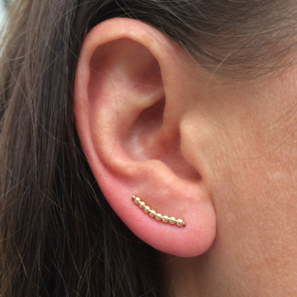 Tiny Gold Beaded Curved Ear Climbers