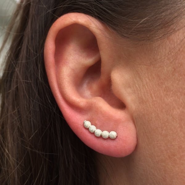 Silver Stardust Beaded Ear Climbers