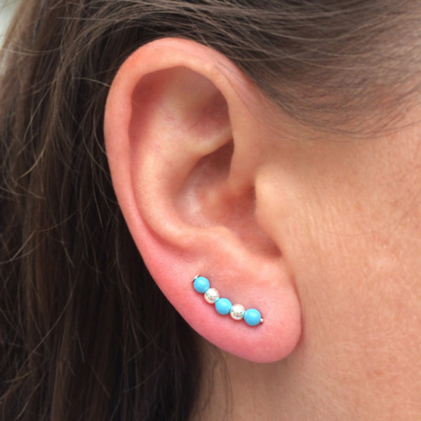 Silver and Turquoise Pearl Sweep Ear Climbers