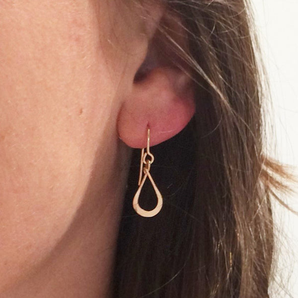 Tiny Rose Gold Teardrop Earring