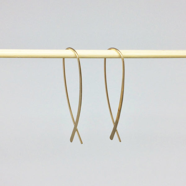 Gold Crossover Open Hoops
