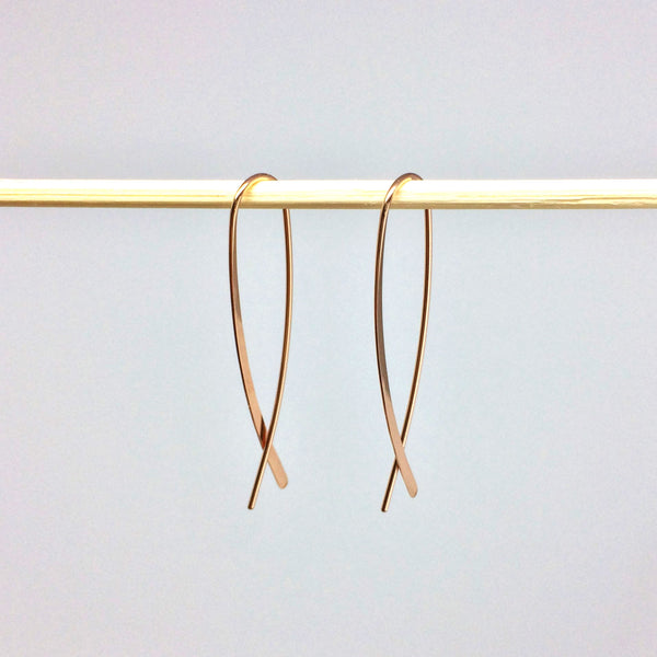 Rose Gold Crossover Open Hoops