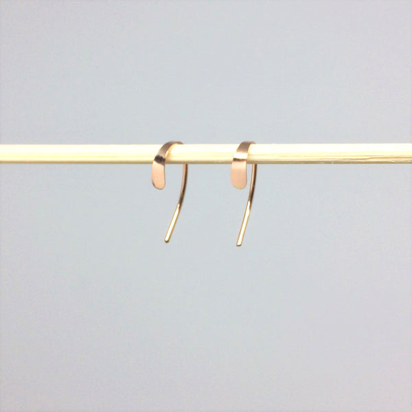 Tiny Rose Gold Crescent Open Hoops
