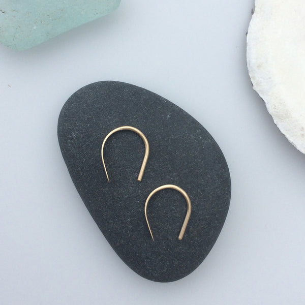 Tiny 14k Gold Open Hoops