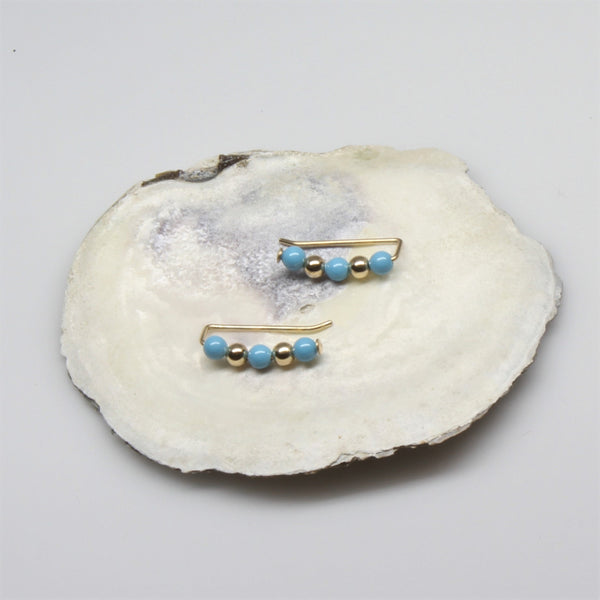 Gold and Turquoise Pearl Sweep Ear Climbers
