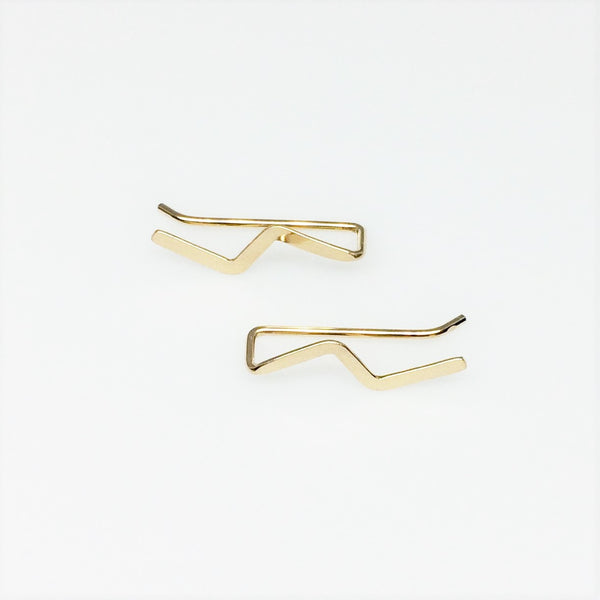Gold Lightning Flash Ear Climber