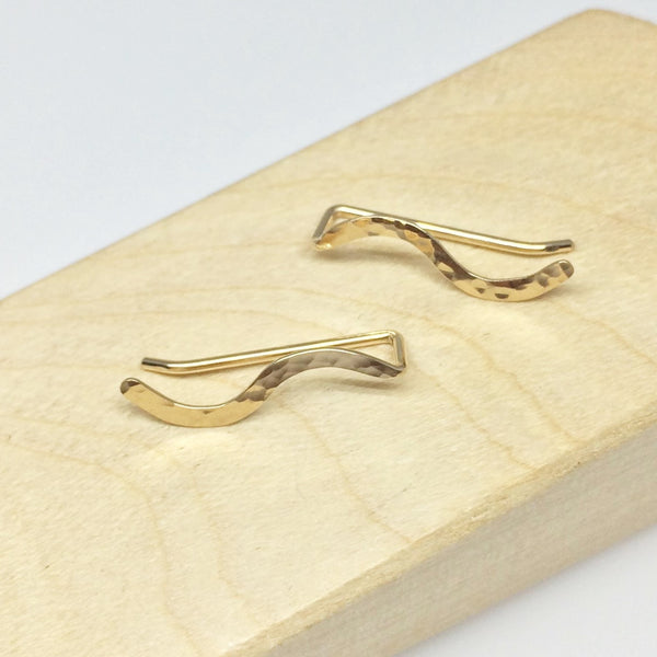 Gold Hammered Squiggle Ear Climber