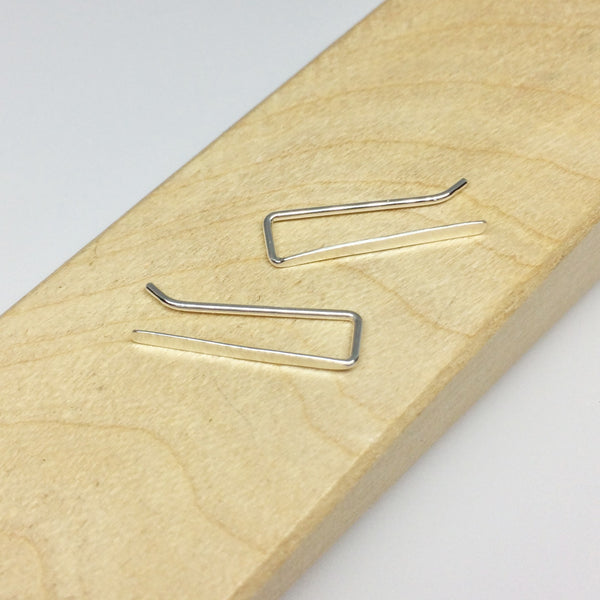Silver Smooth Straight Ear Climber