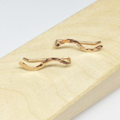 Rose Gold Hammered Squiggle Ear Climber