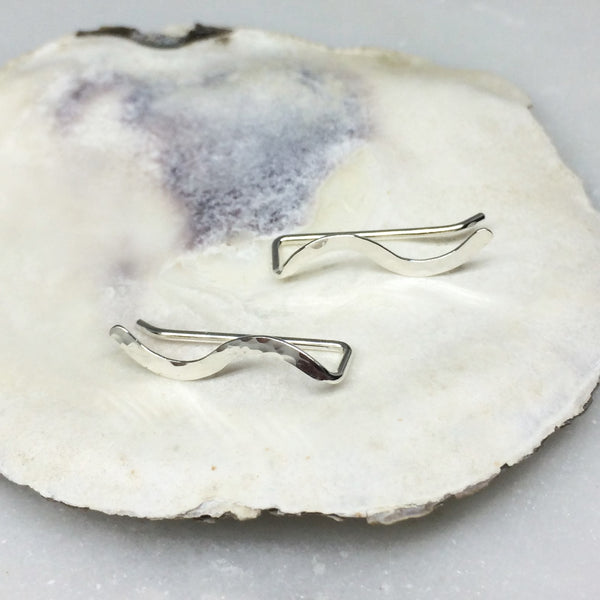 Silver Hammered Squiggle Ear Climber