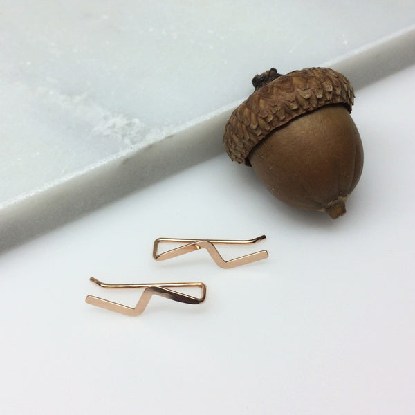 Rose Gold Lightning Flash Ear Climber