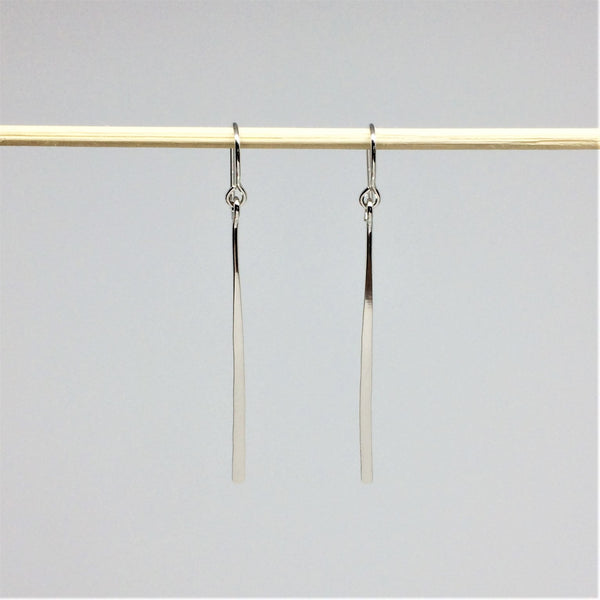Long Silver Line Earrings