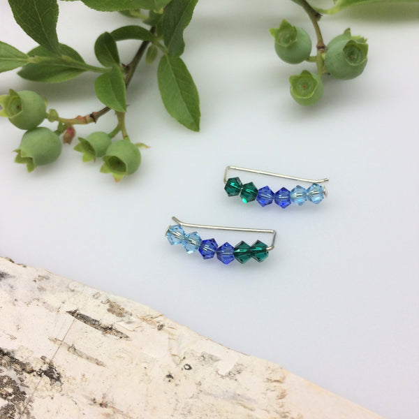 Swarovski Crystal Ear Climbers in Blue and Green