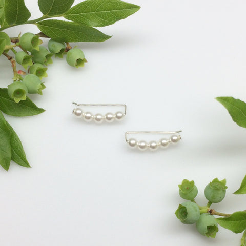 Swarovski Crystal Pearl Curved Sweep Ear Climbers in White