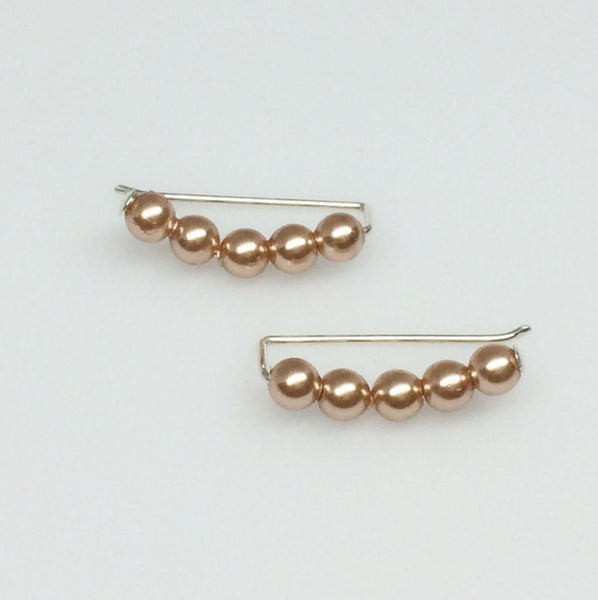 Rose Gold Pearl Ear Climber