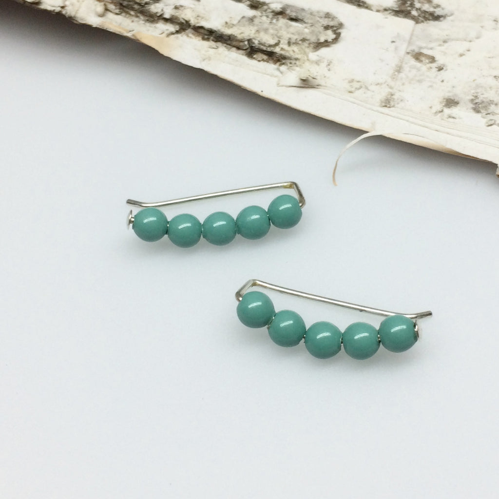 Jade Pearl Sweep Ear Climbers
