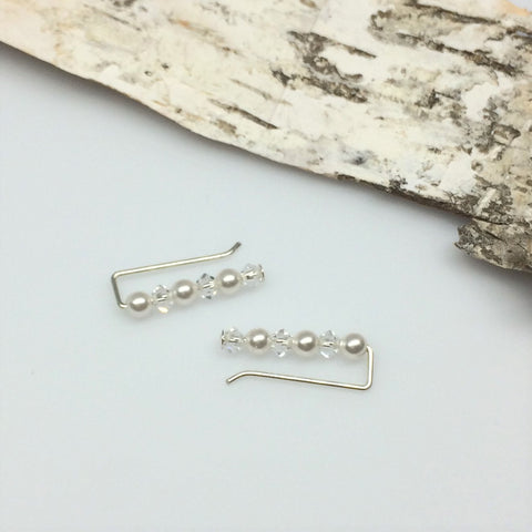 Swarovski Pearl and Crystal Straight Ear Climbers in White