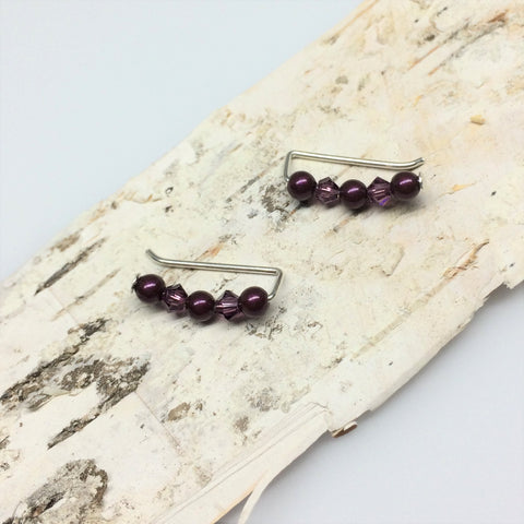 Swarovski Crystal and Pearl Ear Climbers in Purple Shades
