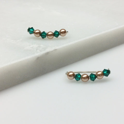 Swarovski Pearl and Crystal Ear Climbers - Emerald Green and Gold