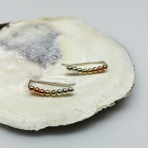 Mixed Metals Beaded Curved Ear Climbers- Copper, Silver and Gold
