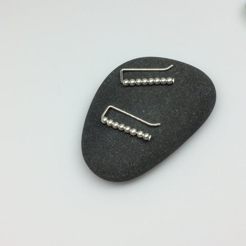 Brushed Silver Beaded Ear Climbers