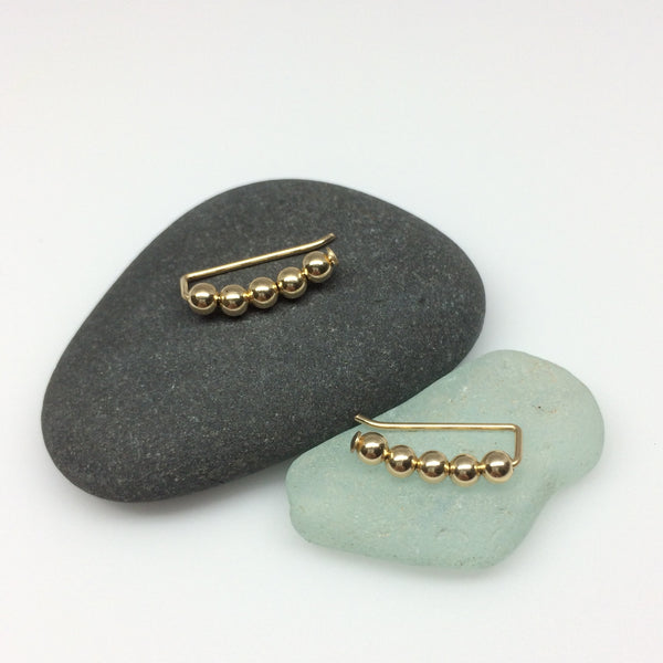 Small Gold Beaded Ear Climbers