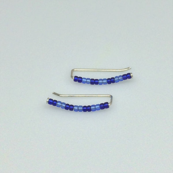 Blue Stripes Seed Bead Ear Climbers