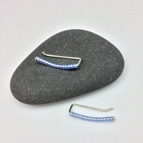 Frosted Matte Gray-Blue Seed Bead Ear Climbers