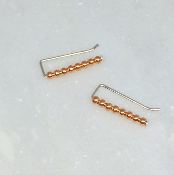 Copper Beaded Ear Climbers